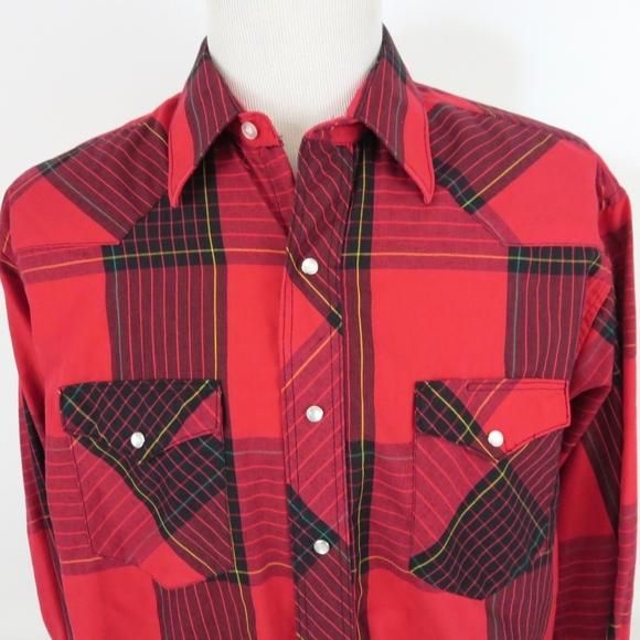 Wrangler Other - Wrangler XL Pearl Snap Shirt Plaid Cowboy Cut